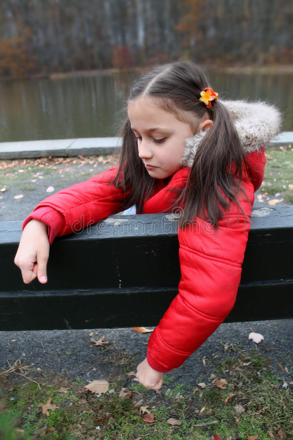 Unhappy young girl. stock images