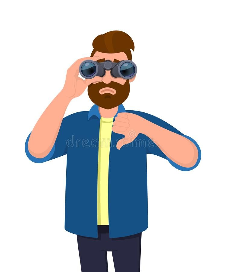 Unhappy young man looking in the distance through binoculars and gesturing, making thumbs down sign with hand finger. Person is seeing from binocular. Modern vector illustration