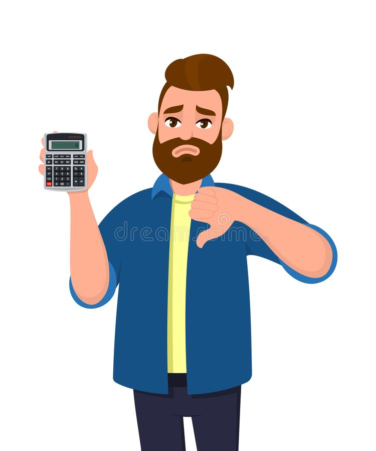 Unhappy young man showing or holding a digital calculator device in hand and gesturing, making thumbs down sign. Bad, dislike. Unhappy young man showing or royalty free illustration