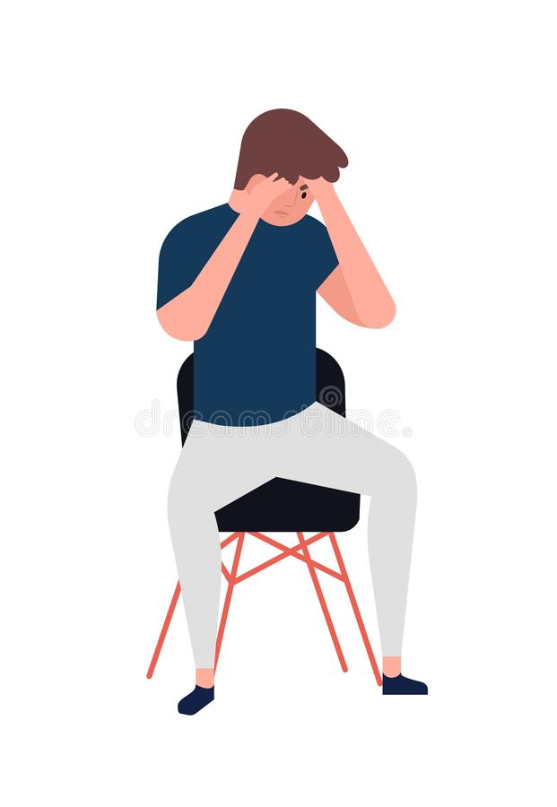 Unhappy young man sitting on chair. Depressed boy. Male character in depression, sorrow, sadness, distress, trouble stock illustration
