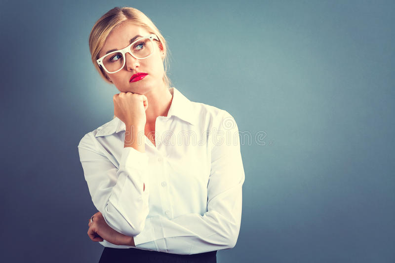 Unhappy young woman stock image