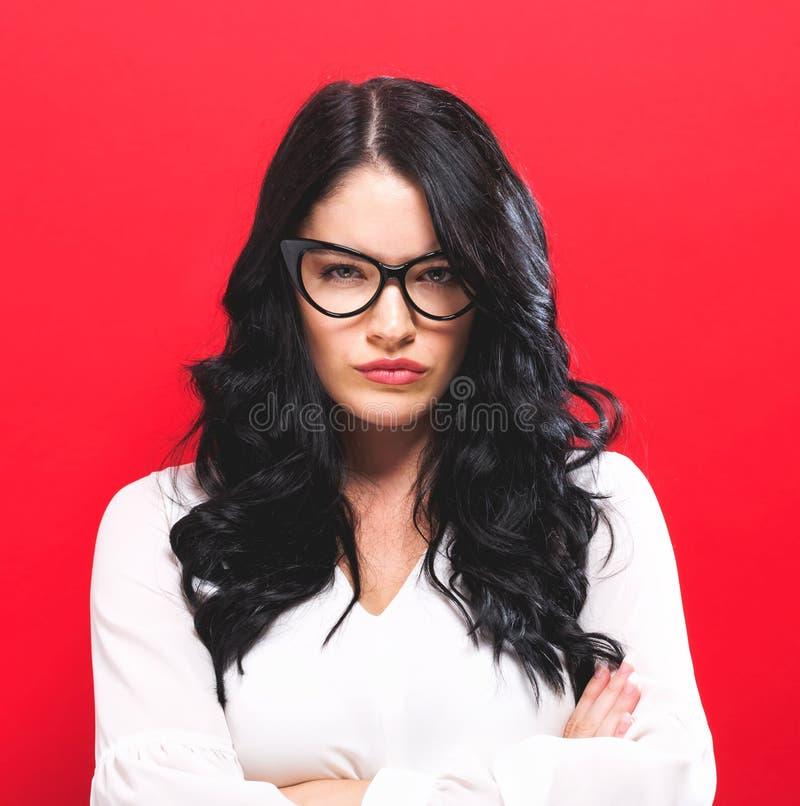 Unhappy young woman stock photos