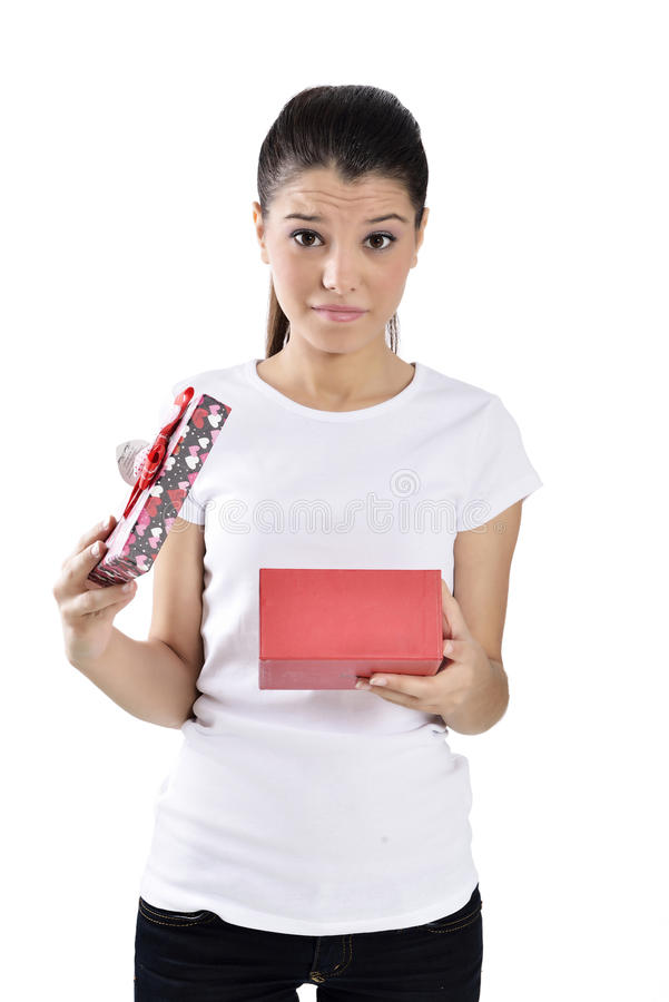 Free Unhappy Young Woman With Gift Boxes Royalty Free Stock Photos - 34992098