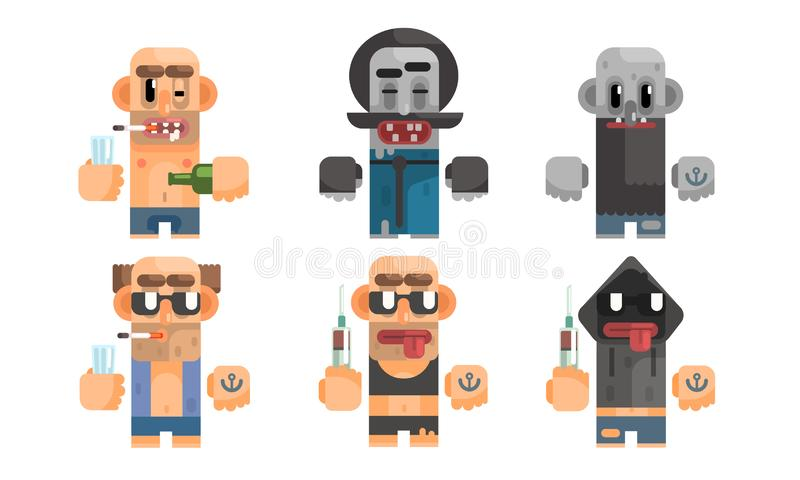 Unhealthy Addcition Lifestyle Set, Male Characters Having Pernicious Habits, Drug, Alcoholism, Smoking Vector. Illustration on White Background stock illustration