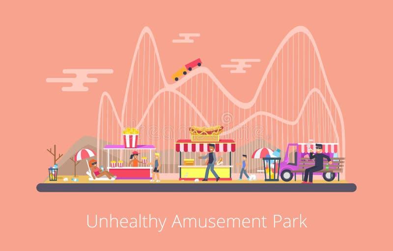 Unhealthy Amusement Park, Vector Illustration royalty free illustration