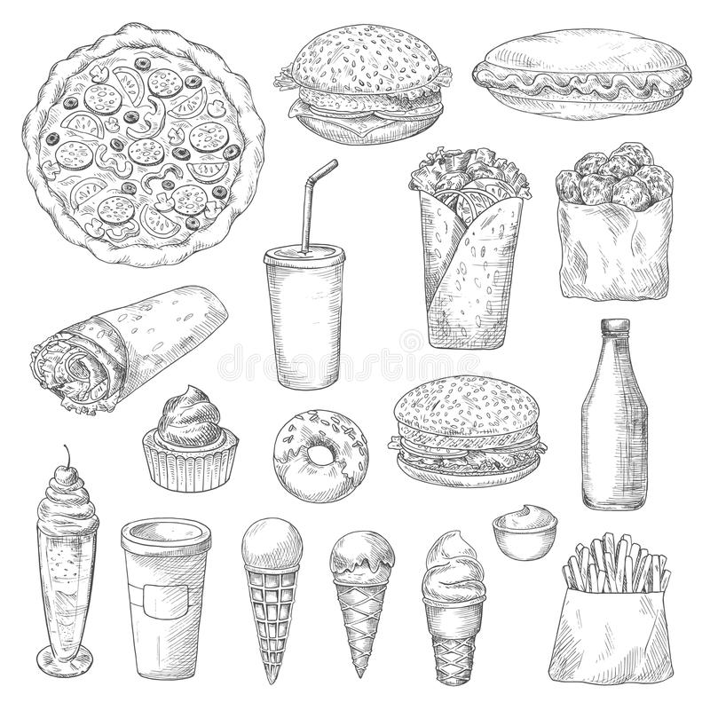 Unhealthy fast food isolated sketches. American junk or fast food sketch. Ice cream in cone waffle, pizza and hamburger or cheeseburger, pizza and french fries vector illustration