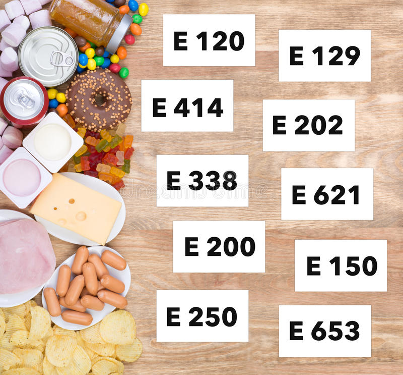 Unhealthy food additives. Food with unhealthy additives on wooden table, top view royalty free stock photography