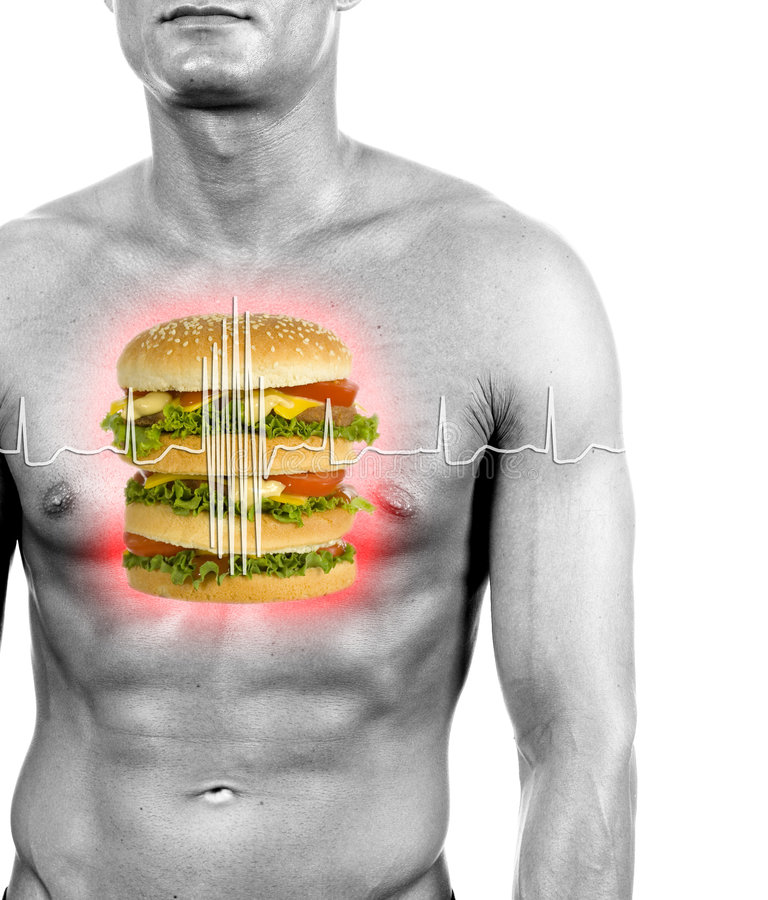 Unhealthy food reason of heart attacks. Digital composition