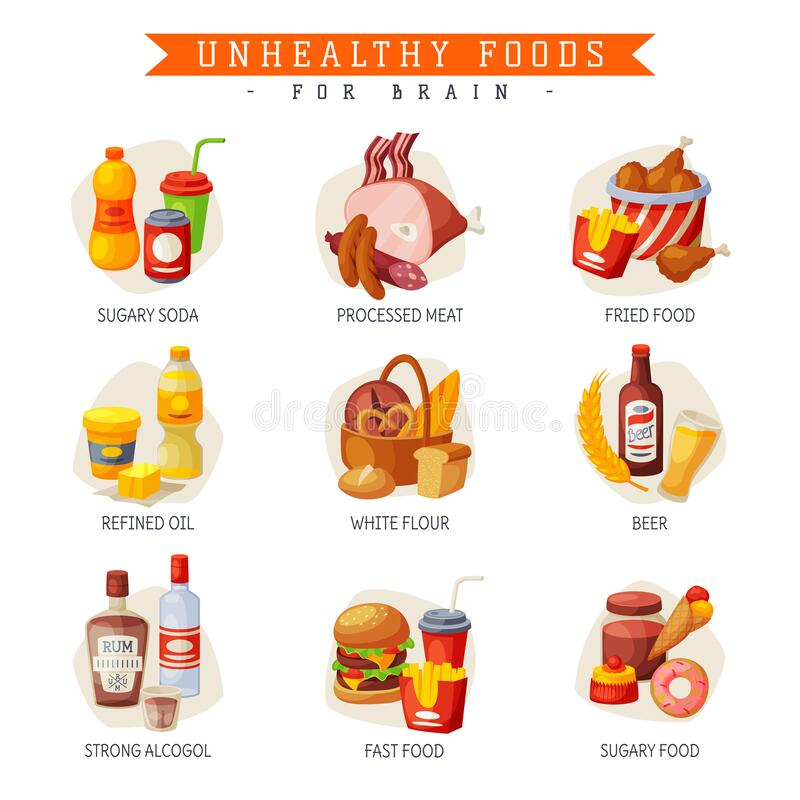 Free Unhealthy Foods For Brain, Sugary Soda And Food, Processed Meat, Fried Food, Refined Oil, White Flour, Beer, Strong Stock Images - 173133284