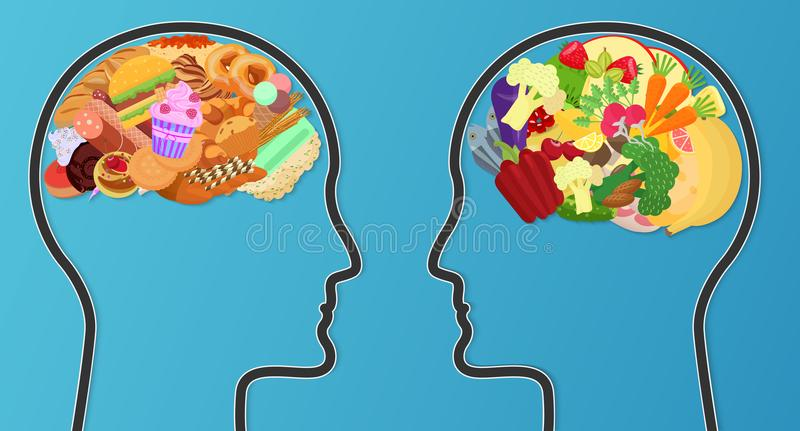 Vector Unhealthy junk food and healthy diet comparison. Food brain modern concept. royalty free illustration