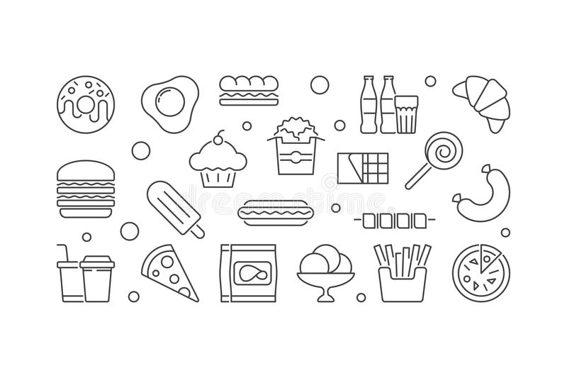 Unhealthy junk food horizontal vector illustration or banner stock illustration