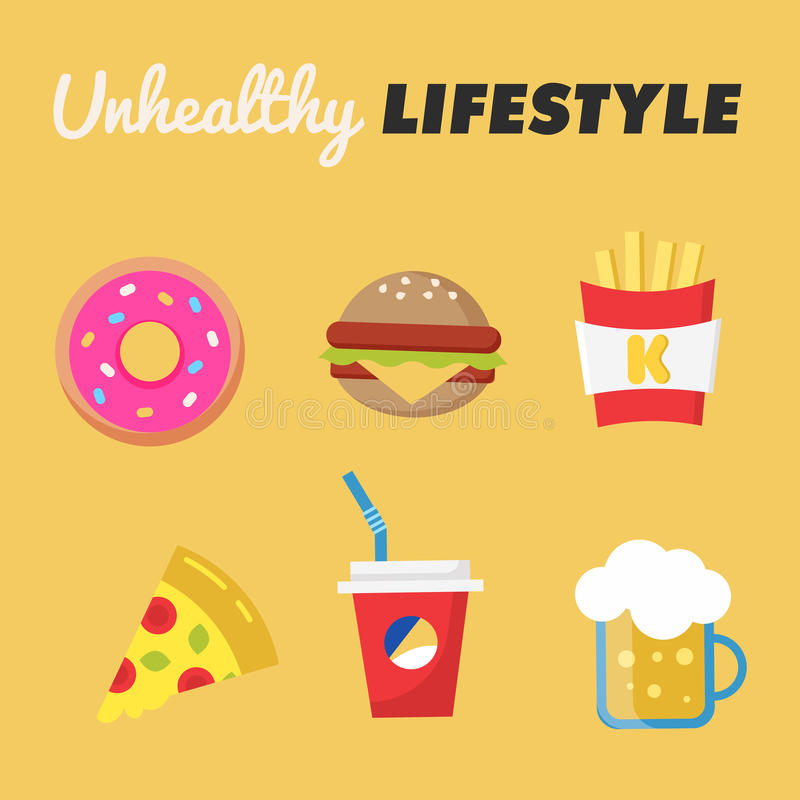 Unhealthy Lifestyle. Concept of unhealthy lifestyle. Donut, beer, fries, Burger, pizza, soda. Vector illustration. Unhealthy Lifestyle. Concept of unhealthy vector illustration