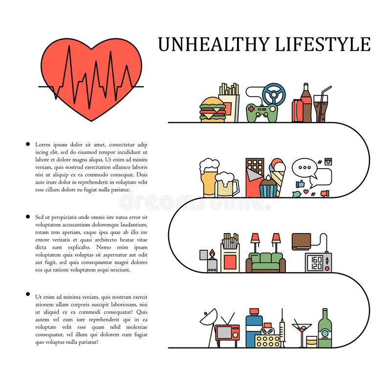 Free Unhealthy Lifestyle Vector Infographic Information In Line Style With Heart Shape. Unnatural Life Background Royalty Free Stock Photography - 87313327