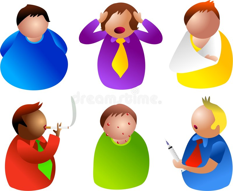 Unhealthy men stock illustration
