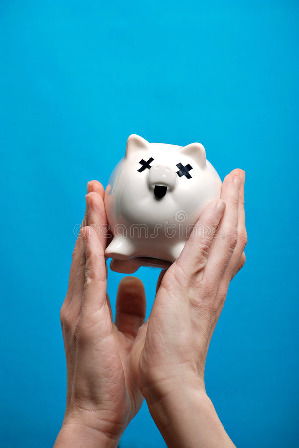 Unhealthy piggy bank royalty free stock images
