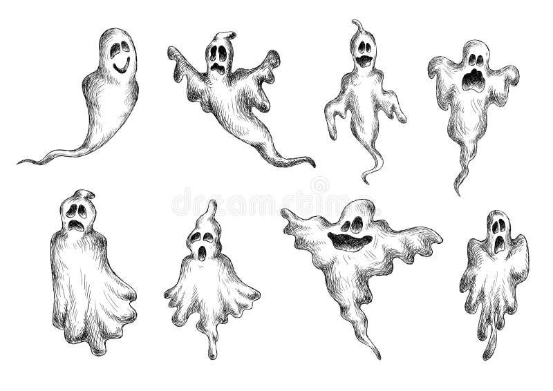 Unheimliche Und Lustige Geister Halloweens Vektor Abbildung ...