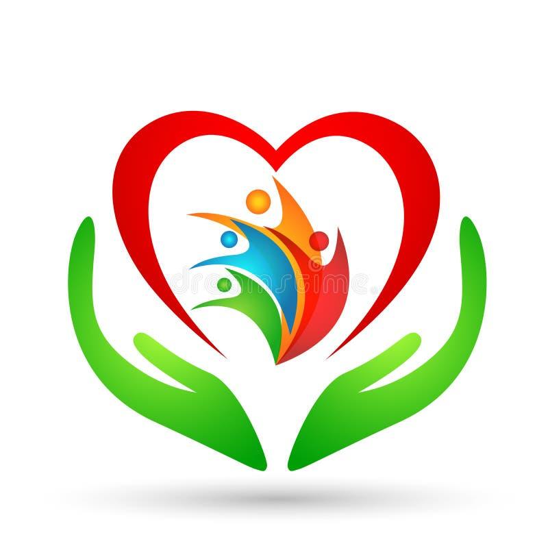 União, amor e cuidado da família em um coração vermelho com elemento do vetor do ícone do logotipo da forma da mão e do coração n ilustração stock