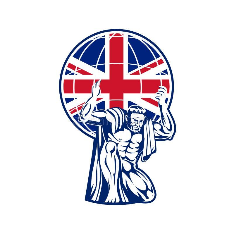 União britânica levando Jack Flag do globo do atlas ilustração do vetor
