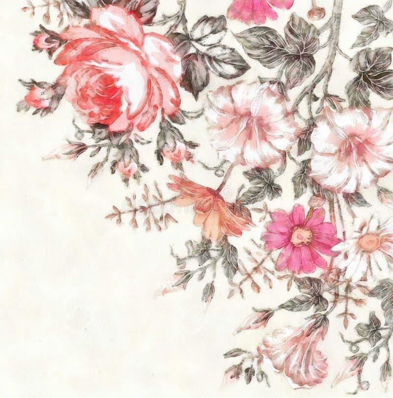 A união do casamento do desenho do quadro de cartão do vintage da aquarela agradece a flores de florescência bonitas do convite ilustração stock