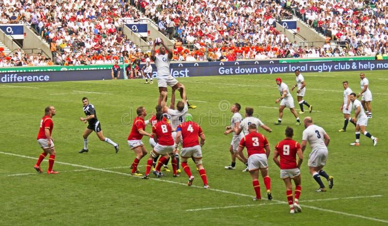 União do rugby de Inglaterra v Gales em Twickenham imagens de stock royalty free