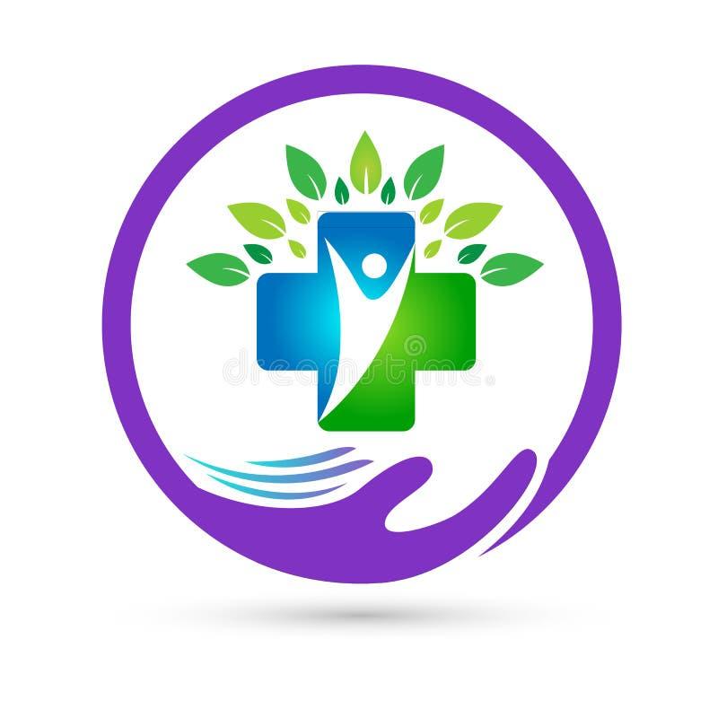 A união dos cuidados médicos da natureza salvar o vetor criativo do sinal do elemento do ícone do logotipo do conceito do bem-est ilustração stock