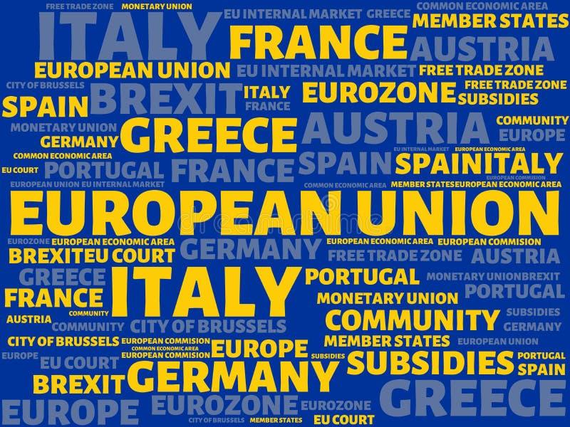 UNIÃO EUROPEIA - a imagem com palavras associou com o assunto EUROPEAN_UNION, nuvem da palavra, cubo, letra, imagem, ilustração ilustração royalty free