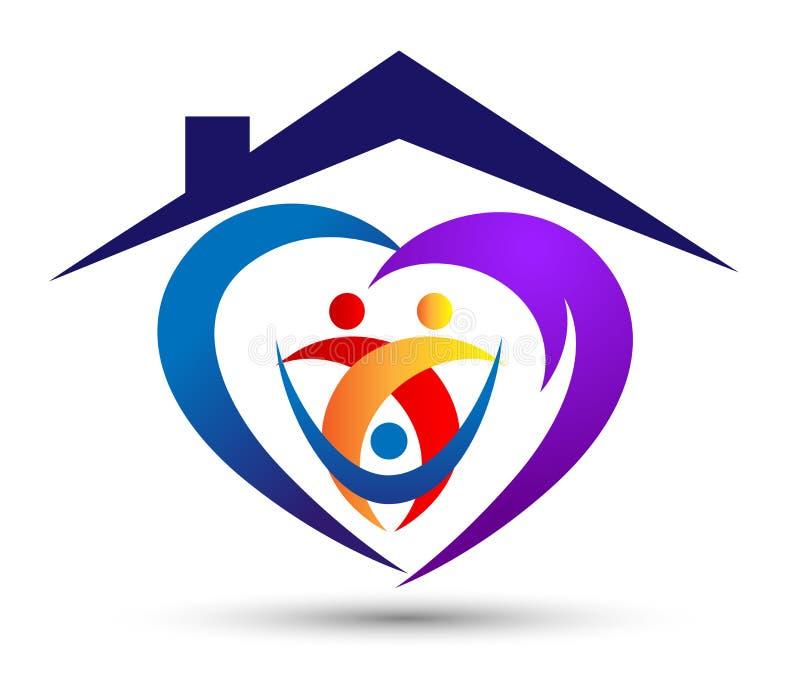 A união feliz da casa da casa de família, coração do amor deu forma ao cuidado da família do logotipo no fundo branco ilustração stock