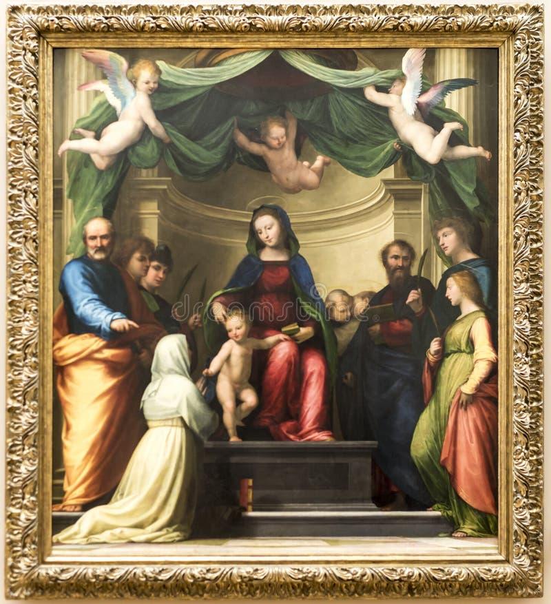 A união místico de St Catherine de Siena Baccio della Port imagens de stock royalty free