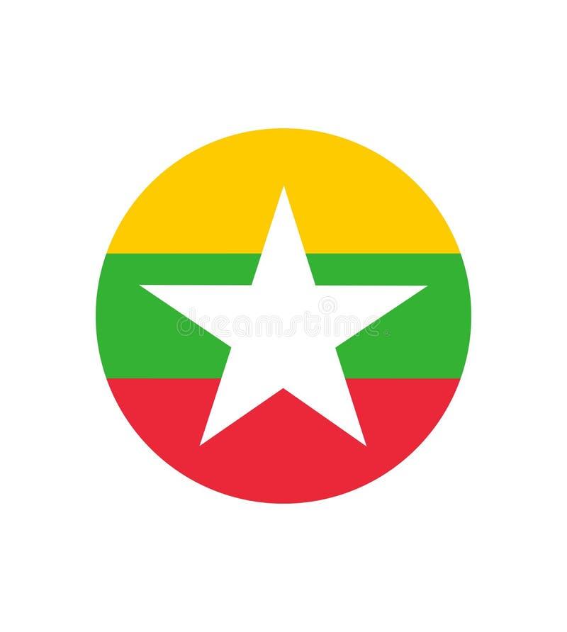 união original e simples do vetor isolado bandeira de Myanmar ou de Burma em cores e na proporção oficiais corretamente ilustração stock