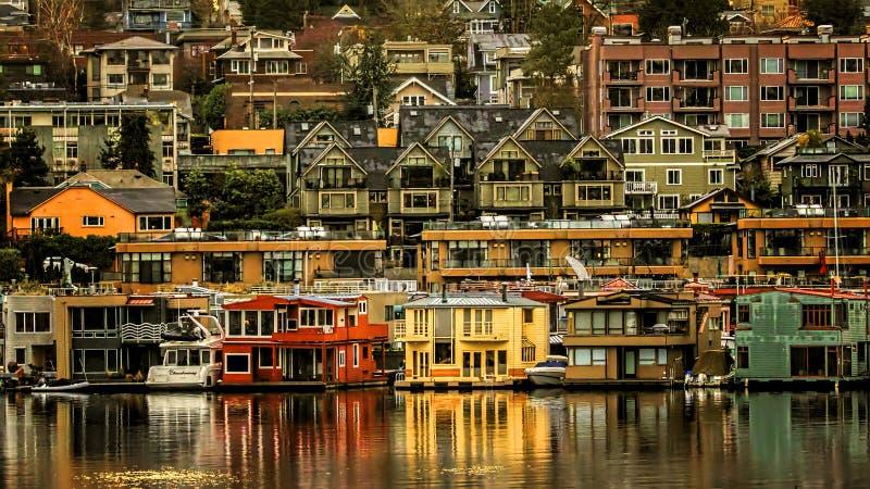União sul do lago Seattle no nascer do sol fotos de stock