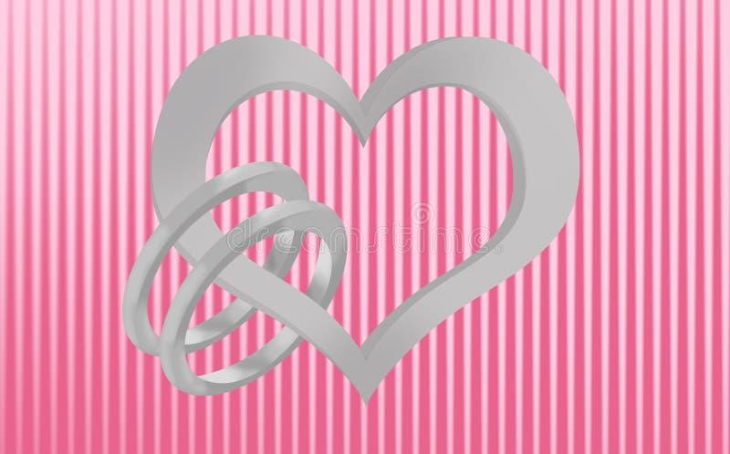 Unión, corazón y anillos de bodas ilustración del vector