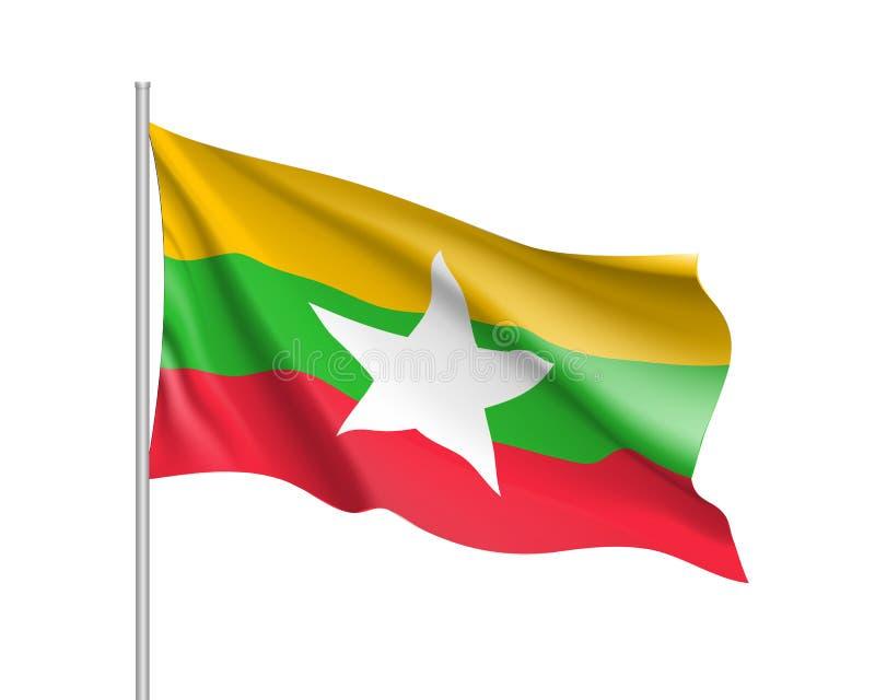 Unión de la bandera de Myanmar o de Birmania ilustración del vector