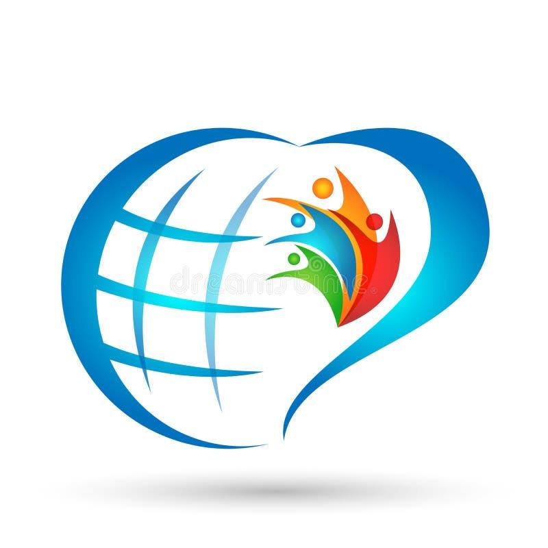 Unión de la familia del amor del corazón del mundo del globo en un elemento del icono del logotipo de la forma del corazón en el  libre illustration