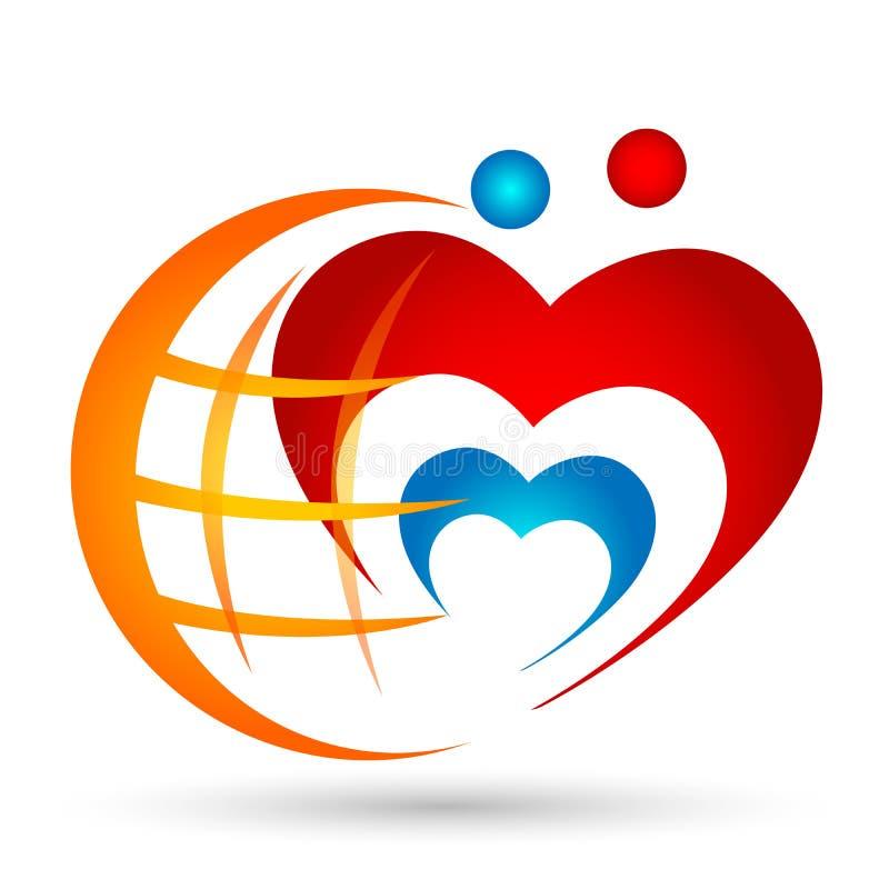 Unión de la familia del amor del corazón del mundo del globo en un elemento del icono del logotipo de la forma del corazón en el  stock de ilustración
