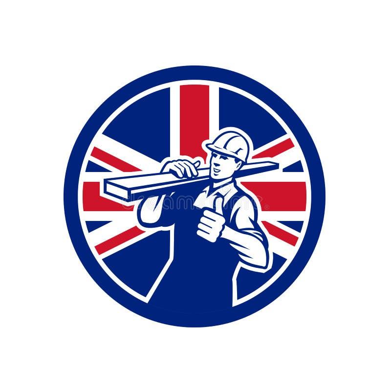 Unión de trabajador británica del almacén de maderas Jack Flag Icon ilustración del vector
