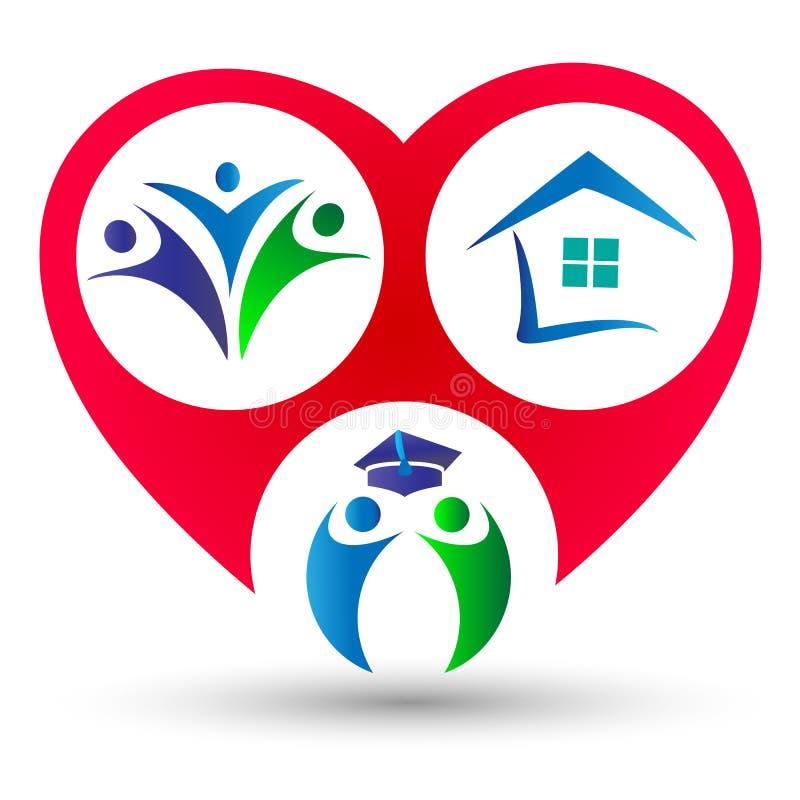 Unión, educación, hogar y feliz de la familia en un logotipo del concepto de la forma del corazón ilustración del vector