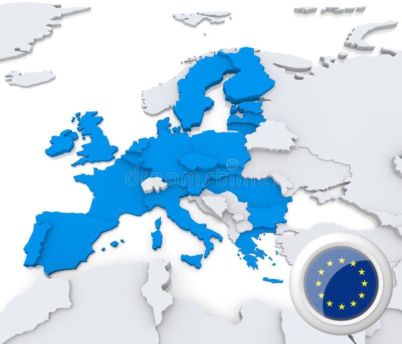 Unión europea en el mapa de Europa libre illustration