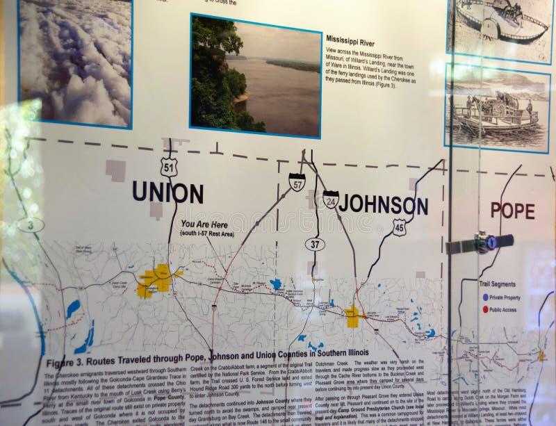 Unión, Johnson, papa Counties Trail de la ruta de los rasgones imagenes de archivo