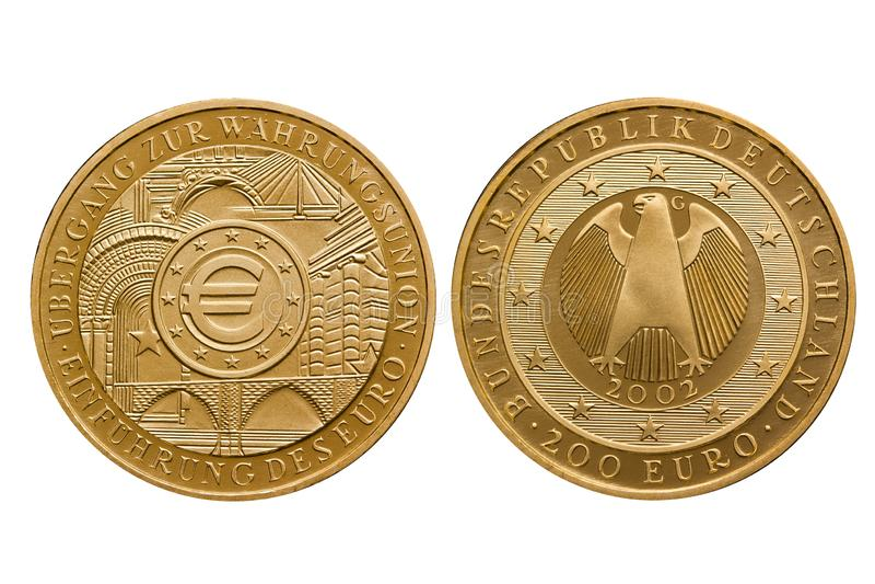 Unión monetaria 2002 de la moneda de oro del euro de República Federal de Alemania 200 fotos de archivo