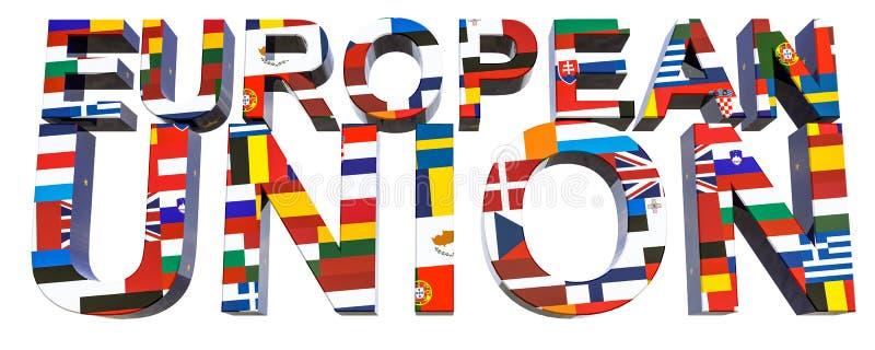unión texto-europea 3D con la imagen de 28 banderas nacionales de los Estados miembros de la UE libre illustration