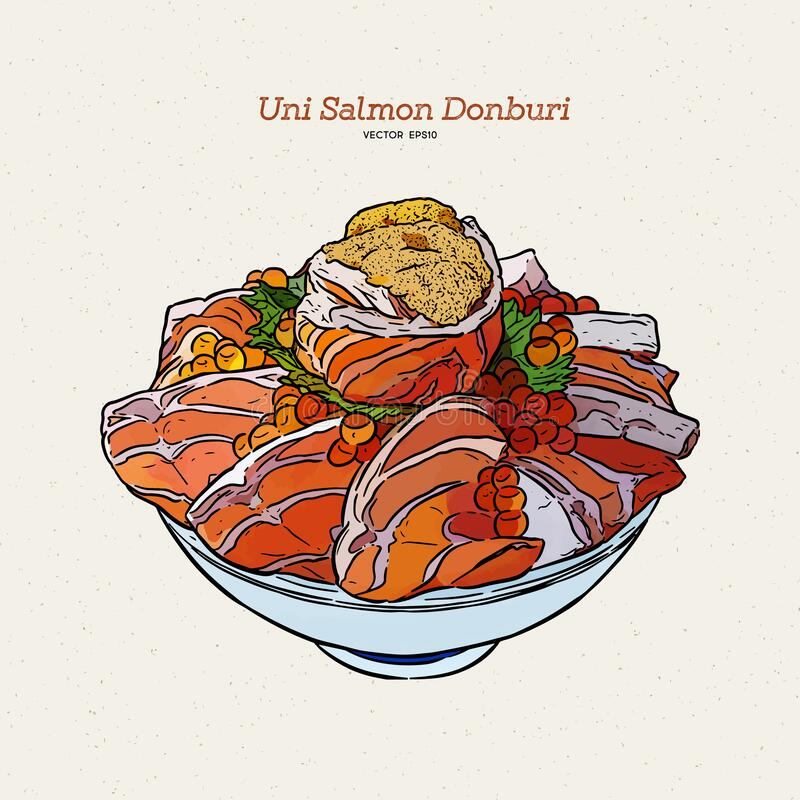 Uni salmon Donbuti, hand draw sketch japanese food.  stock illustration