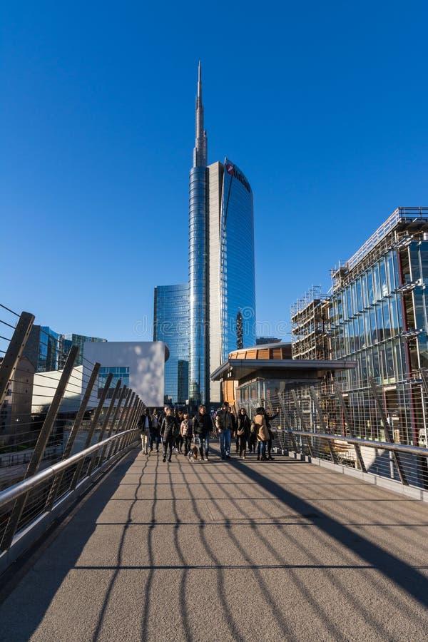 Uni secteur d'activité de tour de crédit Milan Italy Destination Travel SI images stock