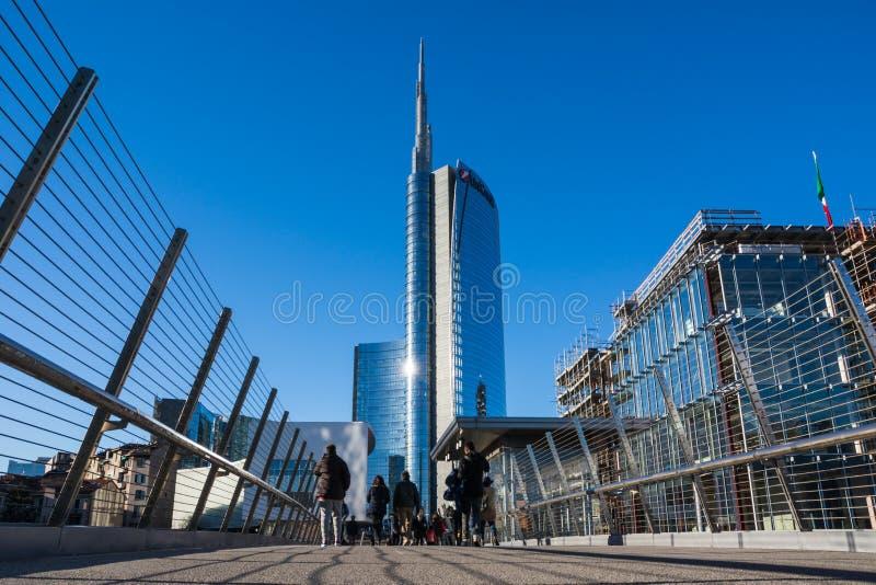 Uni secteur d'activité de tour de crédit Milan Italy Destination Travel SI photo stock