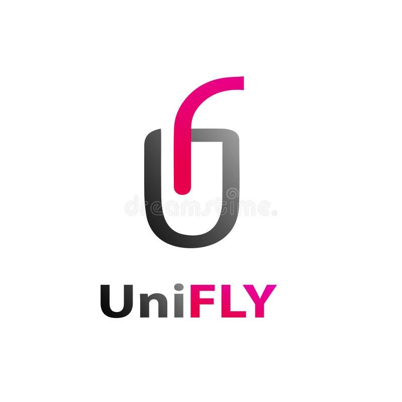 Uni vuele la plantilla abstracta del logotipo de la marca libre illustration