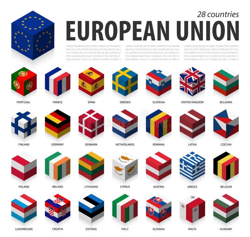 Unia Europejska i członkostwo UE 3D Kubiczny chorągwiany isometric odgórny projekt wektor ilustracja wektor