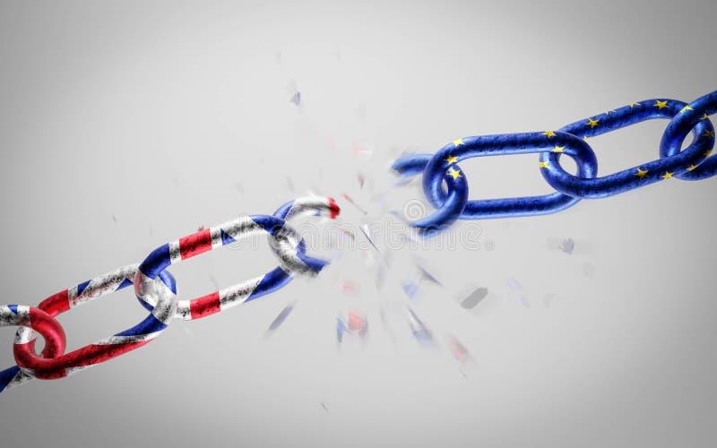 Unia Europejska i Rosja jako przełomowy łańcuch metalowy symbolizujący konflikt, konfrontację polityczną lub problem ilustracja wektor