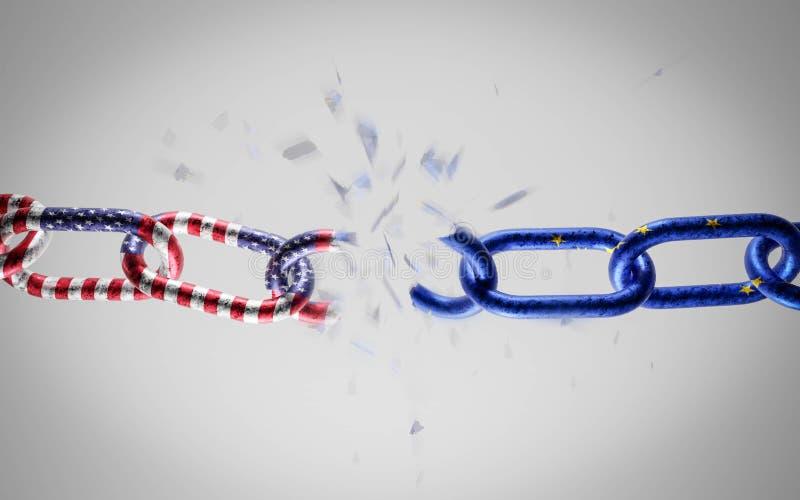Unia Europejska i Stany Zjednoczone Ameryki jako łańcuch metalowy konflikt, konfrontacja polityczna ilustracja 3d ilustracji