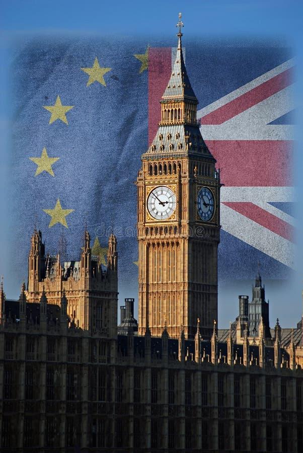 Unia Europejska i Union Jack za Big Ben, Londyn Brexit zdjęcia stock