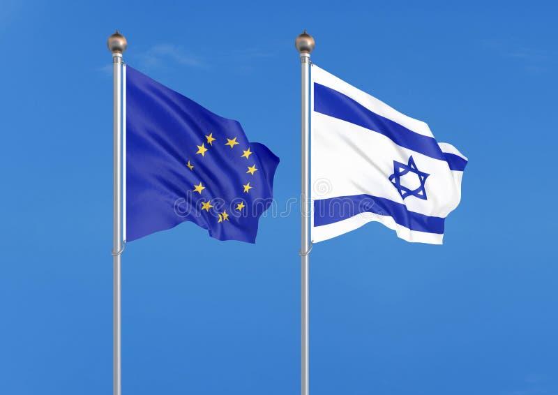Unia Europejska vs Izrael Gęste barwione silky flagi unia europejska i Izrael 3D ilustracja na nieba tle ? ilustracja wektor