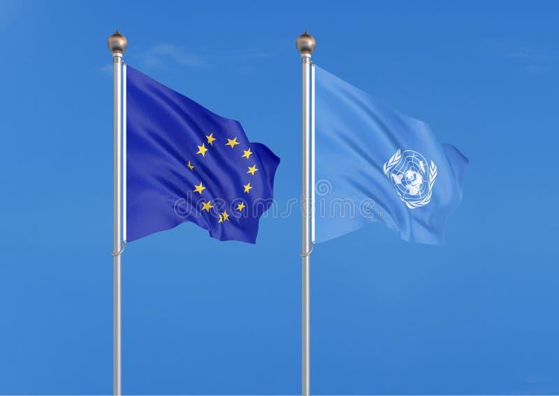 Unia Europejska vs Narody Zjednoczone organizacja Gęste barwione silky flagi unia europejska i Narody Zjednoczone organizacja 3d royalty ilustracja